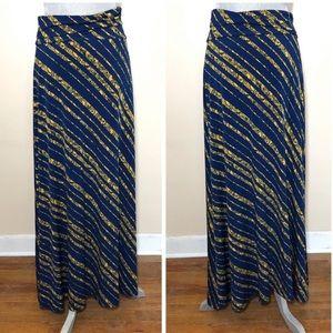 Lularoe Maxi Skirt Navy Blue Yellow Sz M